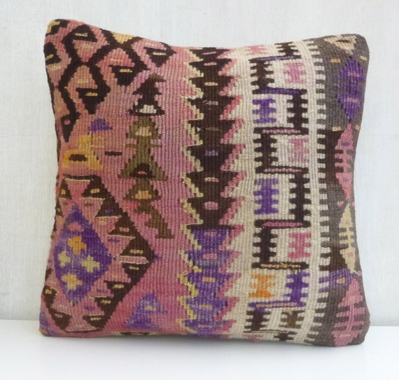 Dusty pink Decorative Throw pillow Vintage Kilim by SophiesBazaar