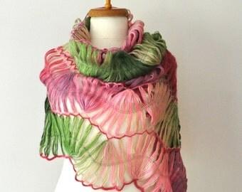 Pink and Green Crochet Shawl - Green Pink Bridal Shawl Crochet shawl Lace shawl - Multicolor bridal shawl