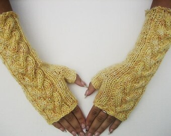 fingerless gloves,Knitted Yellow Fingerless Half Gloves with Cable, Woman, Handmade, women accessories, winter accessoriess