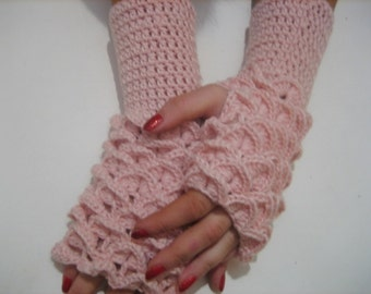 Dragon scale gloves women gloves bridal gloves women dragon gloves Fingerless Crocheted Gloves Arm Warmers Pink Accessory