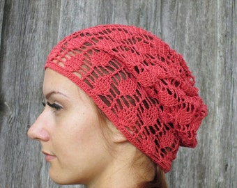 Crochet Summer Hat, red color, red slouchy hat Hand Crochet Hat Womens Hat - slouchy Hat , sun hat, women hat