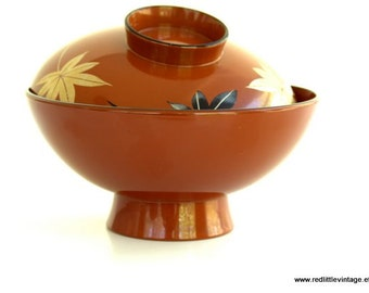 Rice Bowls, Vintage Japanese Red Rice Bowl, Painted Leaves on Lid, Made in Japan