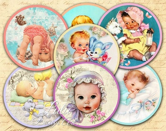 Loving Baby - Digital Collage Sheet, 2,5 inch circles, Baby Shower, Pocket Mirror, Cupcake Toppers, Magnet, Labels, Stickers, Scrapbooking