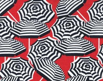 SUPER CLEARANCE! One Yard Cabana II - Umbrella Stripe in Red - Cotton Quilt Fabric - by Kanvas - Benartex (W829)