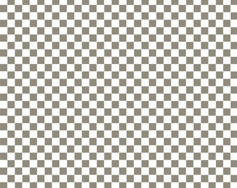 Half Yard Ribs & Bibs - Checkerboard in Taupe (Gray) - Cotton Quilt Fabric - designed by Maude Asbury for Blend Fabrics (W1862)