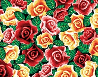 Half Yard Lady of Guadalupe - Spanish Rose in Red - Cotton Quilt Fabric - by Kanvas for Benartex (W1879)
