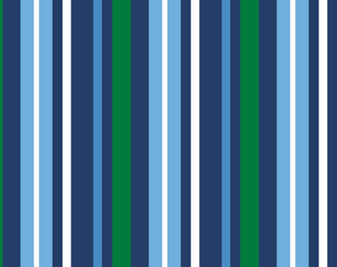 Half Yard Newport - Stripe in Navy - Nautical Themed Cotton Quilt Fabric - from Studio 8 for Quilting Treasures (W1412)