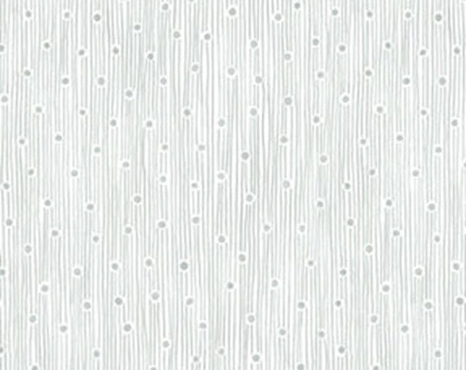 3/4 Yard REMNANT This 'N That - Dew Drops in Silver - Cotton Quilt Fabric - Designed by Nancy Halvorsen for Benartex (W1678)