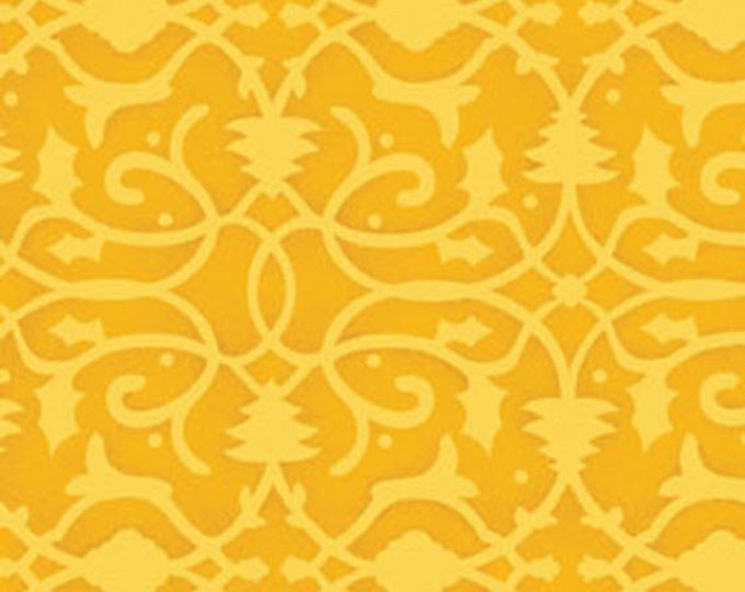 One Yard Christmas Pure & Simple - Brocade in Gold - Cotton Quilt Fabric - Nancy Halvorsen for Benartex - Pure and Simple (W1783)