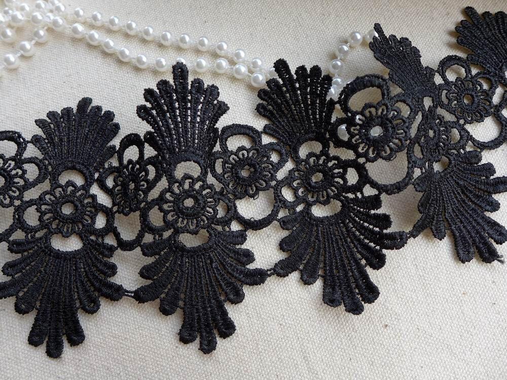 Black Lace Trim Scalloped Black Lace Trim Retro Style