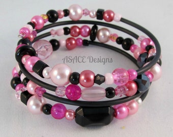 Unique Black & Pink Memory Wire Bracelet