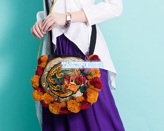 Embroidery bag folk style bag bag canvas bag Handmade embroidery bag purseHand Made Embroidery Great Floral Pattern Tote Bag