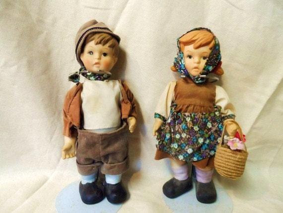 Vintage Porcelain Hummel Hansel Amp Gretel Dolls Boy And Girl