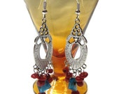 Art Deco Style Red Coral Chandelier Earrings with Blue Glass Accent, Patriotic Style Jewelry