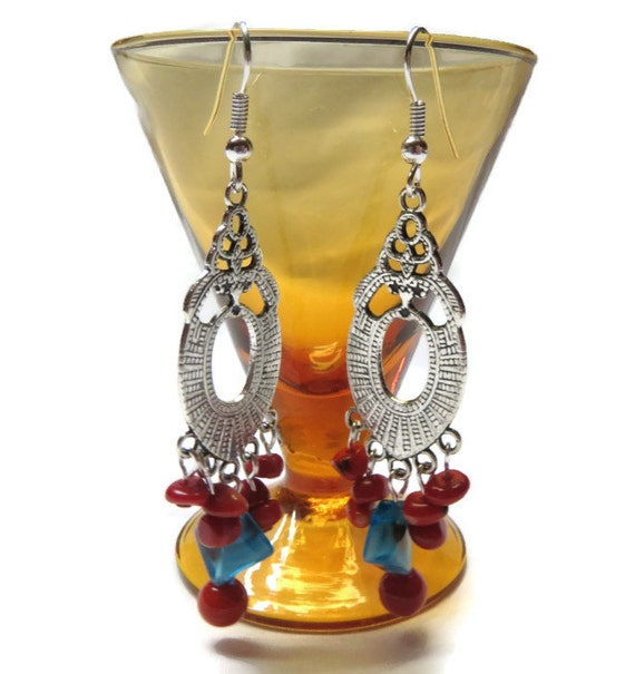Red Coral Chandelier With 3 Lights: Art Deco Style Red Coral Chandelier Earrings With Blue Glass