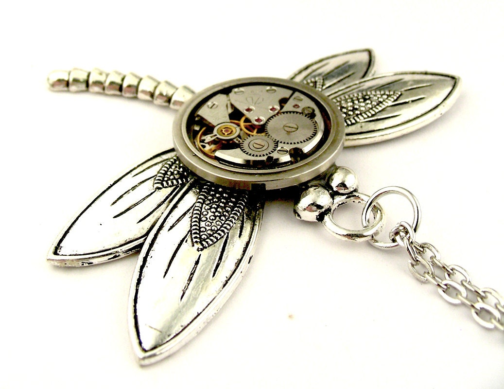Mechanical Dragonfly Necklace Steampunk Dragonfly Pendant