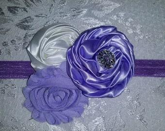Purple Paradise Triple Flower Shabby/Swirl Rose Headband  Baby-toddler headband