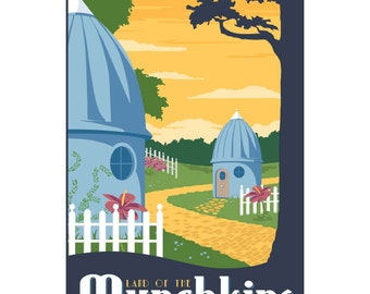 Wizard of Oz Munchkins Retro Travel Poster Wall Decal #44822