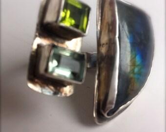 Adjustable Ring Labradorite Aquamarine Peridot, OOAK Statement Ring