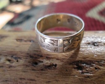 Sterling Turtle and Dolphin Band Ring Size 8.25