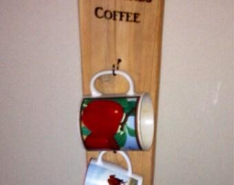Vertical space saving coffee rack