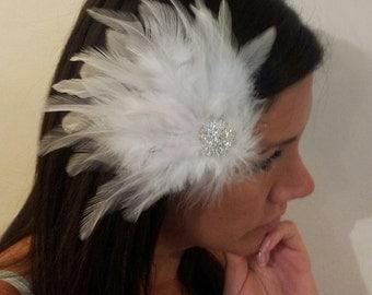 BRIDAL HAIR CLIP, Rhinestone Bridal Fascinator, White Feather