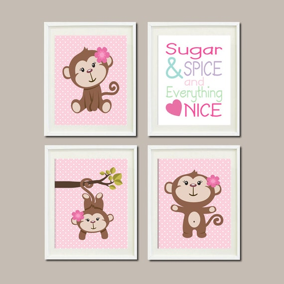 Baby Girl Nursery Monkey Decor Art Sugar Spice Quote Rhyme Set