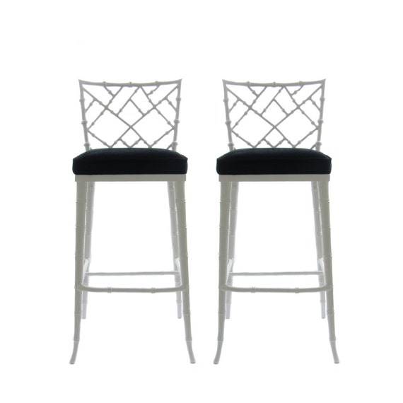 Phyllis Morris Chippendale Bamboo Style Bar Stools In Black