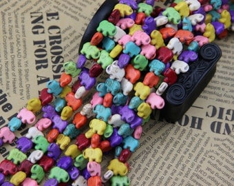 2 Full Strand Approx 80 pcs 14x10mm Multi Colored Howlite Mini Elephant Beads