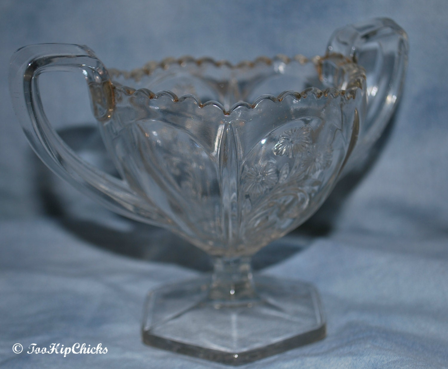 Vintage clear cut glass two handled sugar bowl by toohipchicks