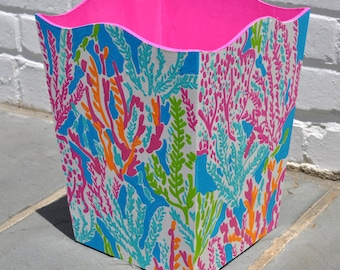 Lilly Inspired Hand Painted Trash Can