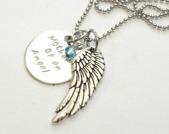 Mother of an Angel Necklace - PERSONALISED & handstamped (babyloss, miscarriage, stillbirth)