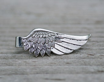 Silver Bird Wing Tie Bar