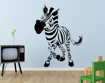 Wall decal CUTE ZEBRA wall stickers for kids room,nursery,playroom,children decals, vinyl decal, vinyl stickers, animal wall decal