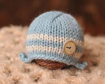 Newborn knitted beanie.. newborn hat.. newborn earflap hat... newborn photography prop... newborn knit hat