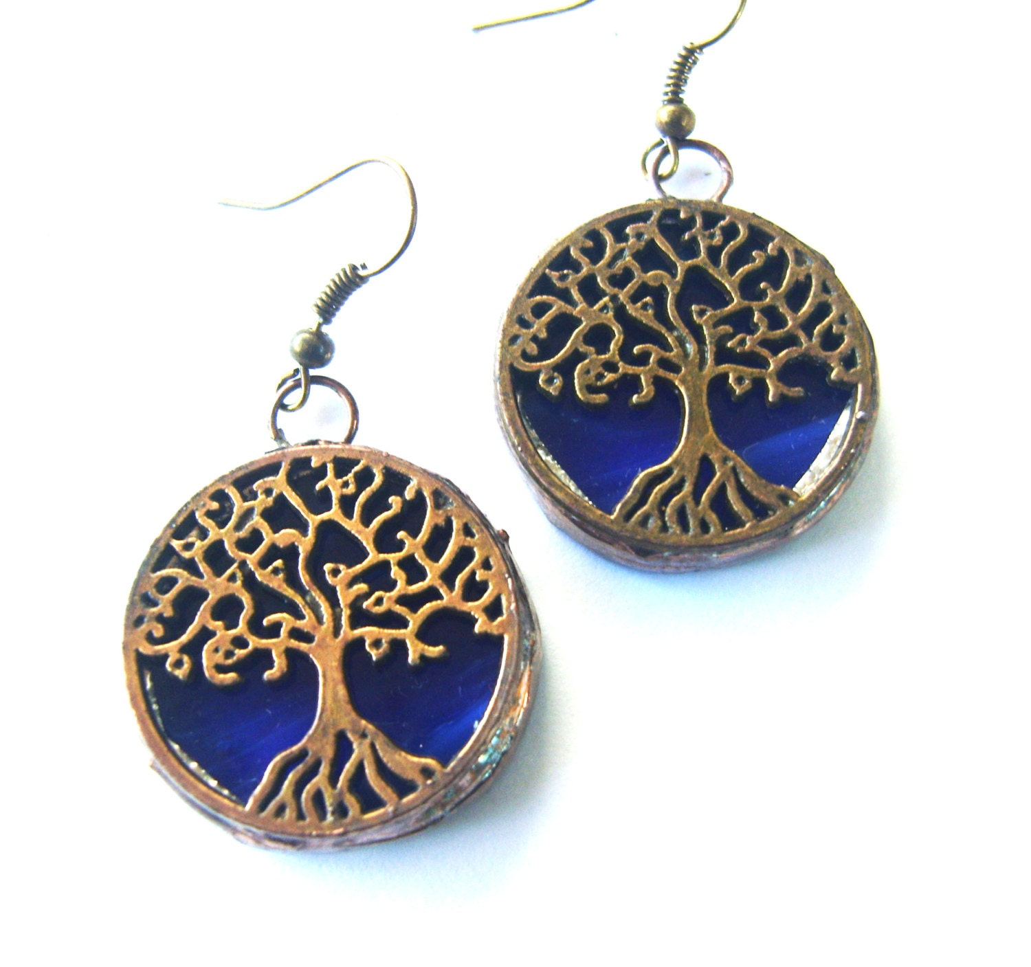 tree earrings blue stained glass jewelry by tocasol on etsy