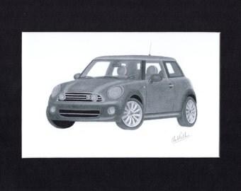 Car art print of a pencil drawing of a 2010 MINI