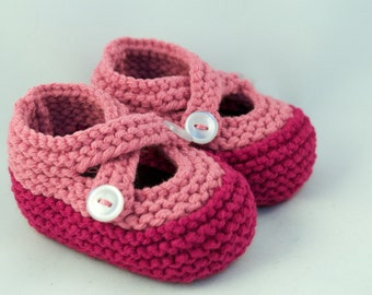 Fuchsia & Pink Knit Baby Booties
