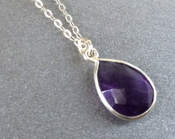 Amethyst Necklace, February Birthstone Necklace Amethyst Faceted Teardrop Sterling Chain, Bridesmaids Jewlery