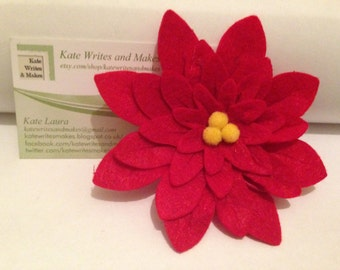 Red Flower Hairclip: Flower Made of Red Felt Petals and Yellow Pom Pom Centre