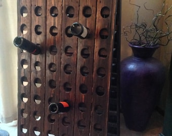 Samantha Reclaimed Wood Riddling Wine Rack Panel - 29W x 2D x 58H