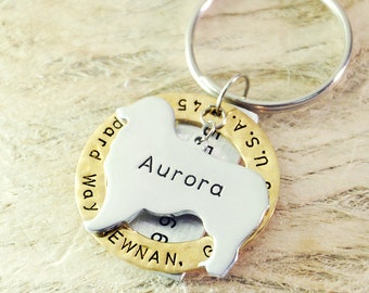 Australian Shepherd  dog tag personalized  dog tag 3 piece Pet tag Pet Id Tag Hand stamped   custom Made with your Pets Name/phone number