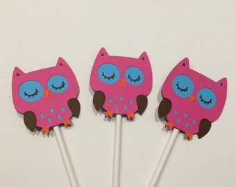 12 Pink Girl Owl Cupcake Toppers
