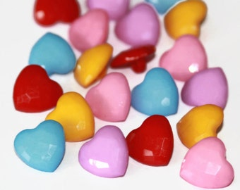 20 Heart Shank Buttons - 14mm x 15mm - Mixed Colour Buttons - Heart Shaped Resin Buttons - SK04