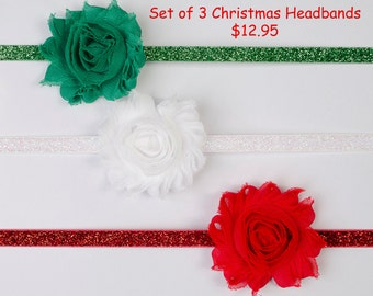 Christmas Headband Set-Baby Headbands-Shabby Chic Baby Headbands shabby chic headbands, Newborn headband, gift set, baby headbands