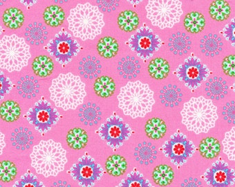 Fabri-Quilt Peggy Sue 120-4792 Medallions on Pink by the Yard