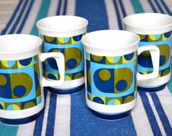 Retro Mod Mugs set of 4