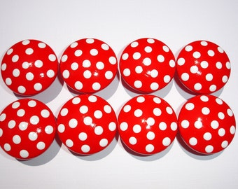 Set of 8 Hand Painted Red and White Polka Dot Dresser Drawer Knobs
