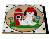 Fire Dog Handpainted Wooden Jigsaw Puzzle