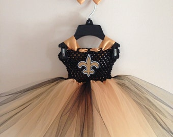 Saints inspired tutu dress and matching bow size nb to 9years